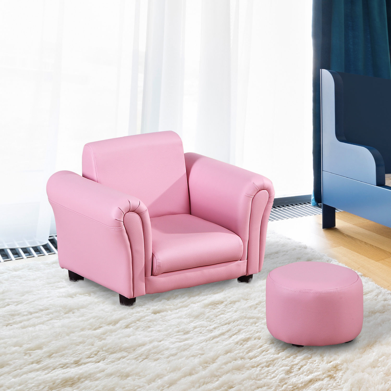 HOMCOM Children's PVC Single Seater Armchair with Footstool Pink