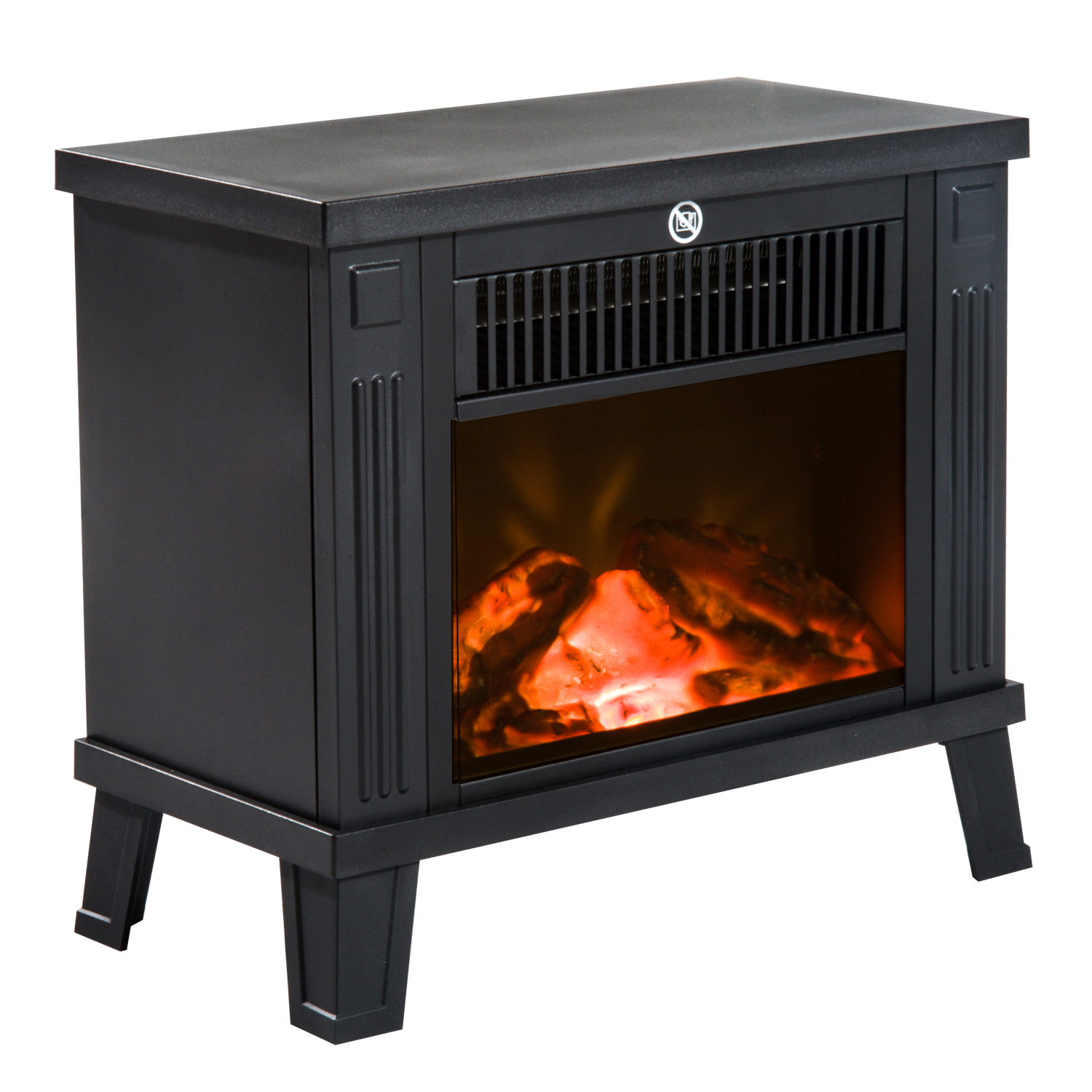 Image of £45.99 HOMCOM Electric Heater W/ Thermostat Control / 1.2KW Freestanding Fireplace Fire Wood Log Burning Effect Flame Stove with Black 600W/1200W 820-079 5056029801390