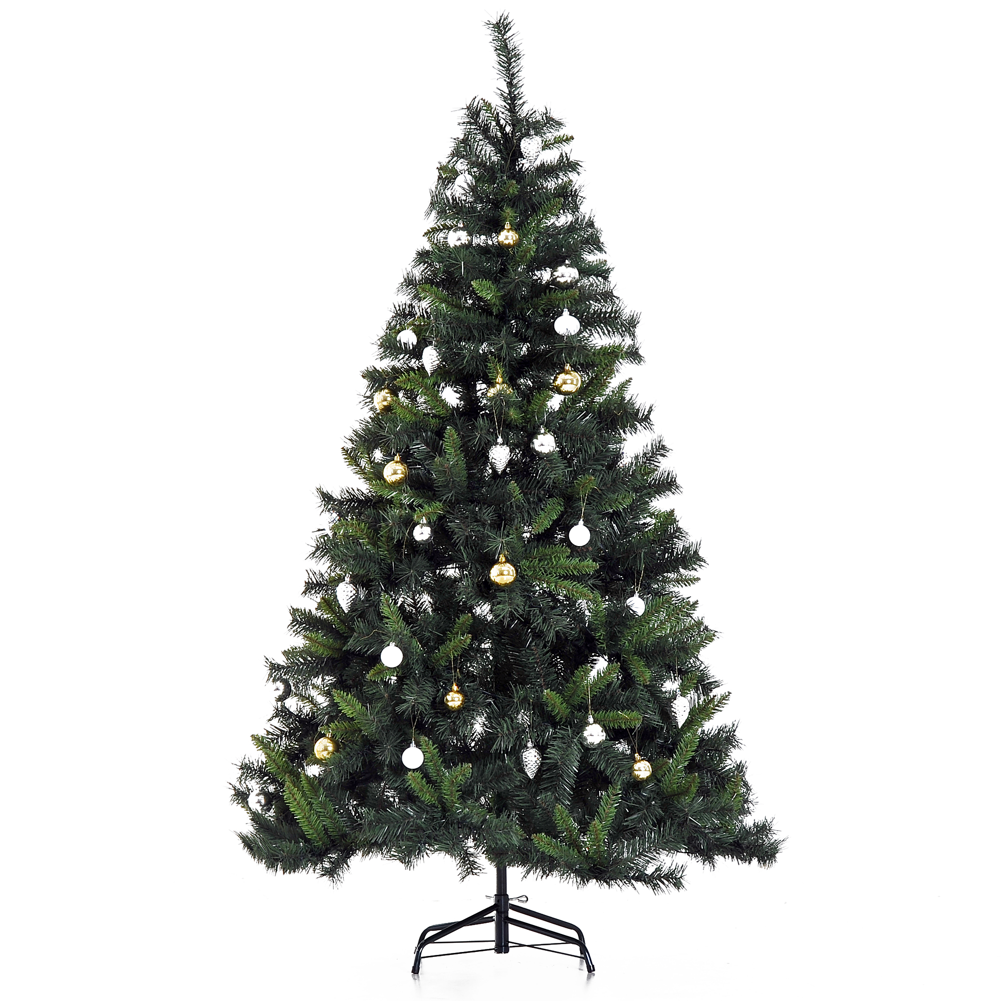 Image of £38.99 HOMCOM Artificial Christmas Tree W/ Ornament, 1.5m / 5FT Pre-Lit 120 LED Xmas Holiday Décor with Decorative Balls Ornament Metal Stand 830-197 5056029807019