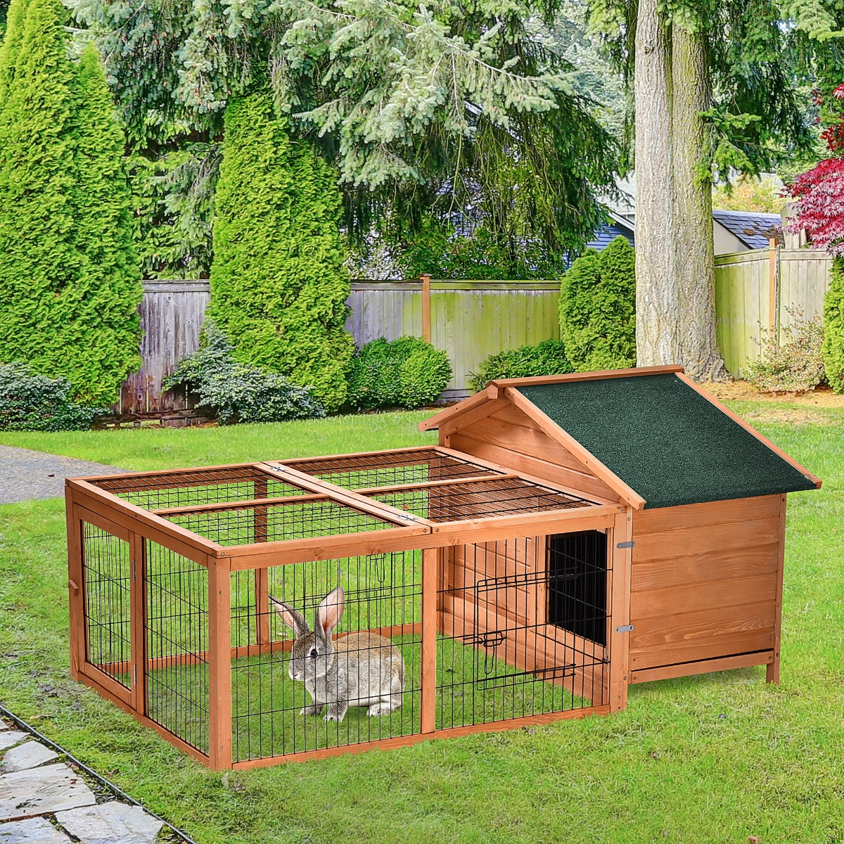 PawHut Wooden Rabbit Hutch Detachable Pet House with Openable Run & Roof Slide-out Tray