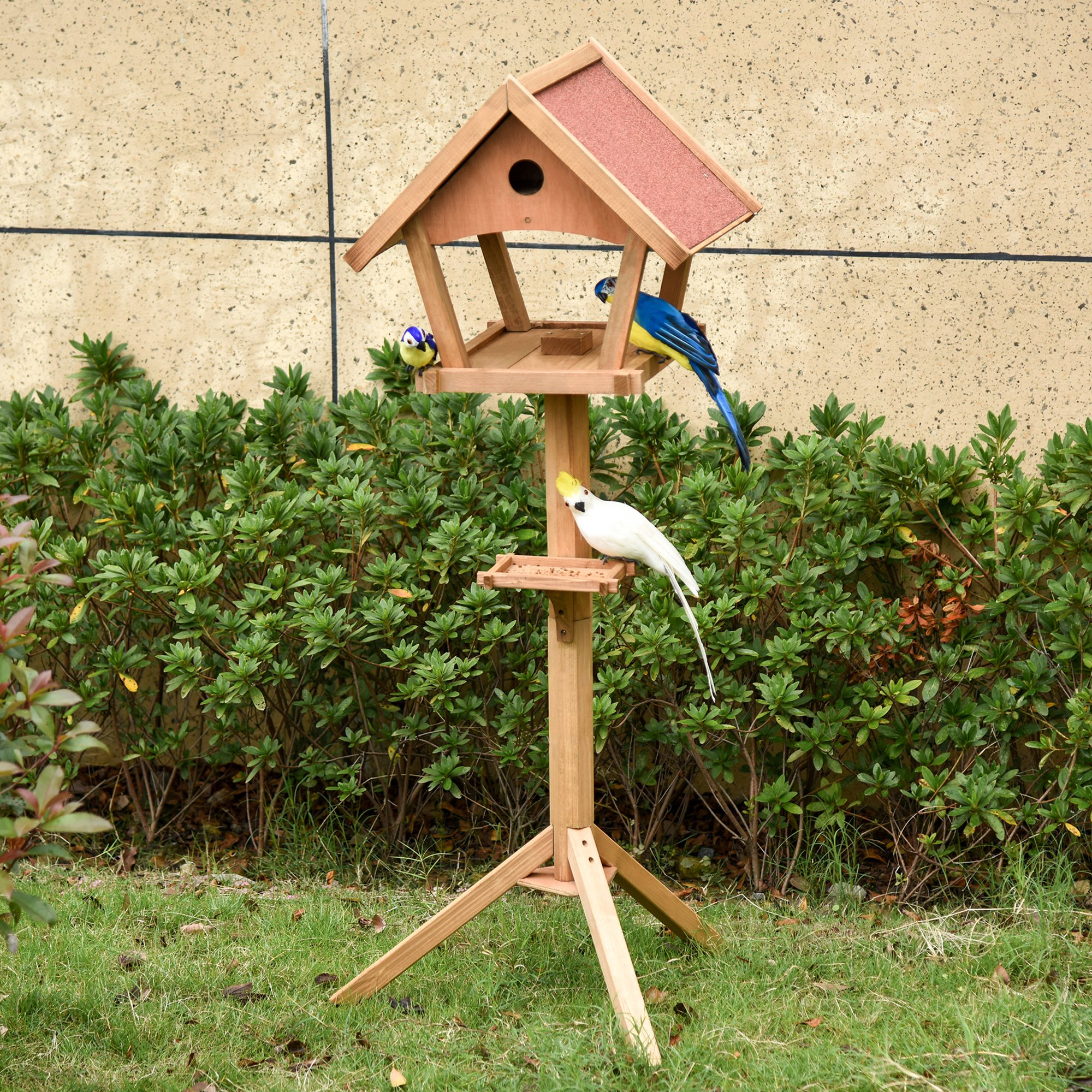 PawHut Wooden Bird Feeder Stand for Garden Pre-cut Weather Resistant 49 x 45 x 139cm