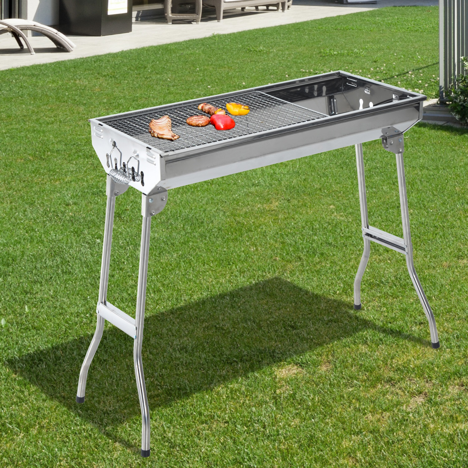 Outsunny Portable Charcoal BBQ Grill Stainless Steel,73Lx33Wx71H cm-Silver