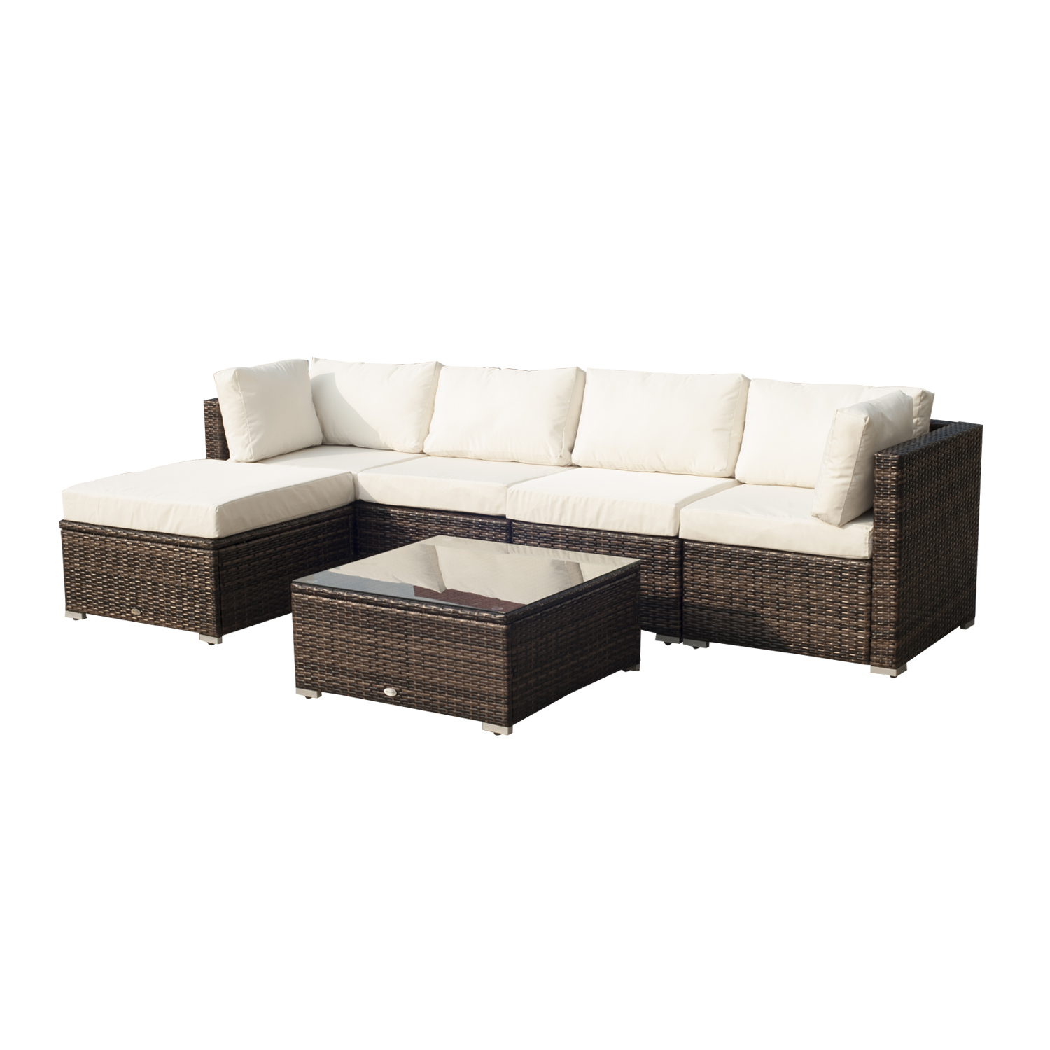Image of £489.99 Outsunny Rattan Furniture Set, 6 PCs- Brown/Milk White / Garden Patio pcs Wicker Weave Conservatory Sofa Chairs Table Set Brown Aluminium Frame Pieces Chair 841-096 5055974824782