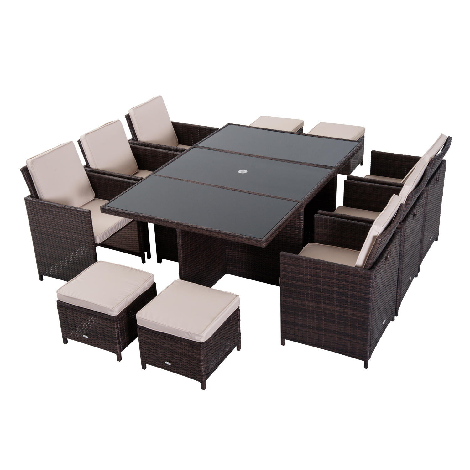 Image of £619.99 Outsunny Rattan Garden Furniture Set, 11 Pieces, Aluminium-Brown / 11pc Outdoor Patio Dining Set Cube Sofa Weave Wicker 6 Chairs 4 Footrests & 1 Table Brown Pieces Cushion Footrest 861-031BN 5056029887592