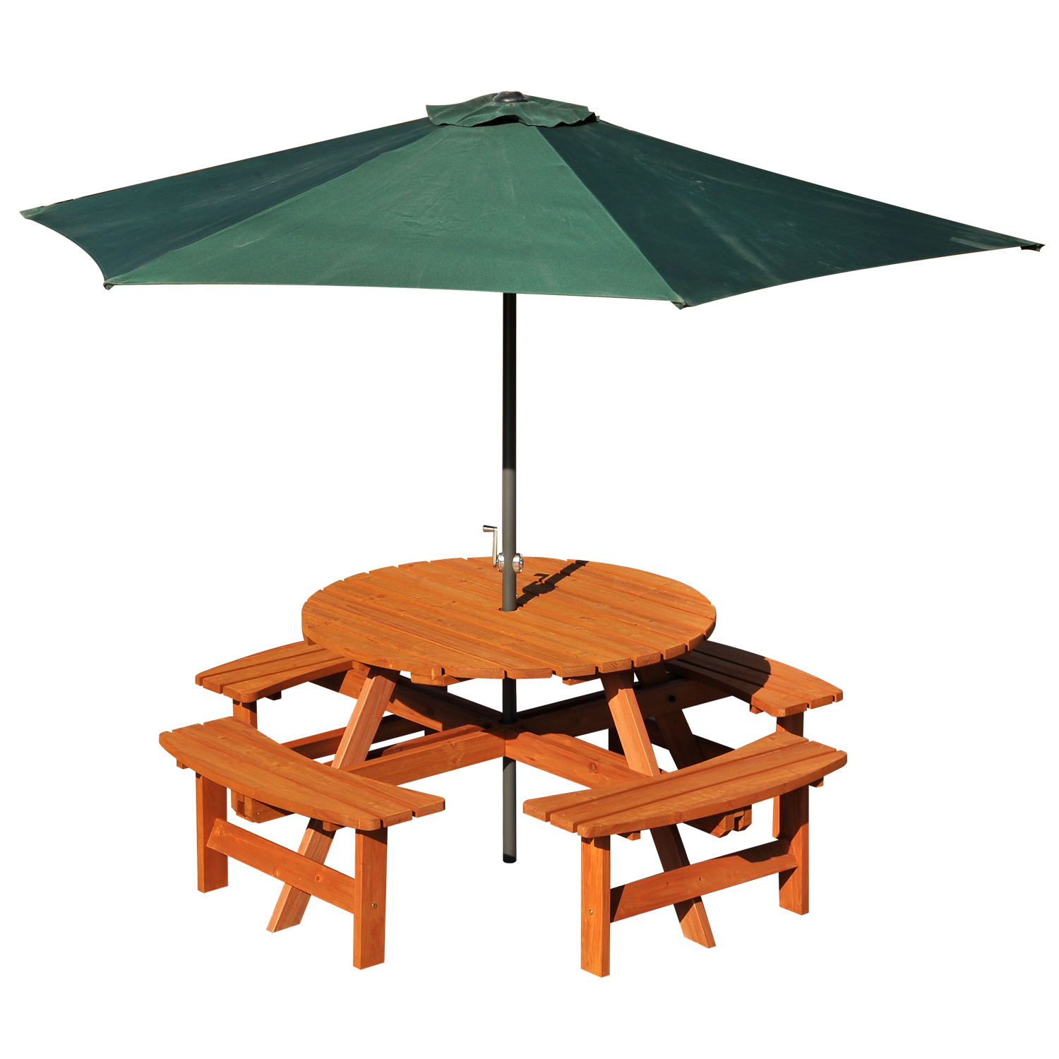 Image of £129.99 Outsunny 8-Seater Wooden Picnic Set-Fir Wood / 8 Seater Round Pub Bench Table Furniture Set for Outdoor Garden or Patio Dining with Seating 84B-192 5056029898857