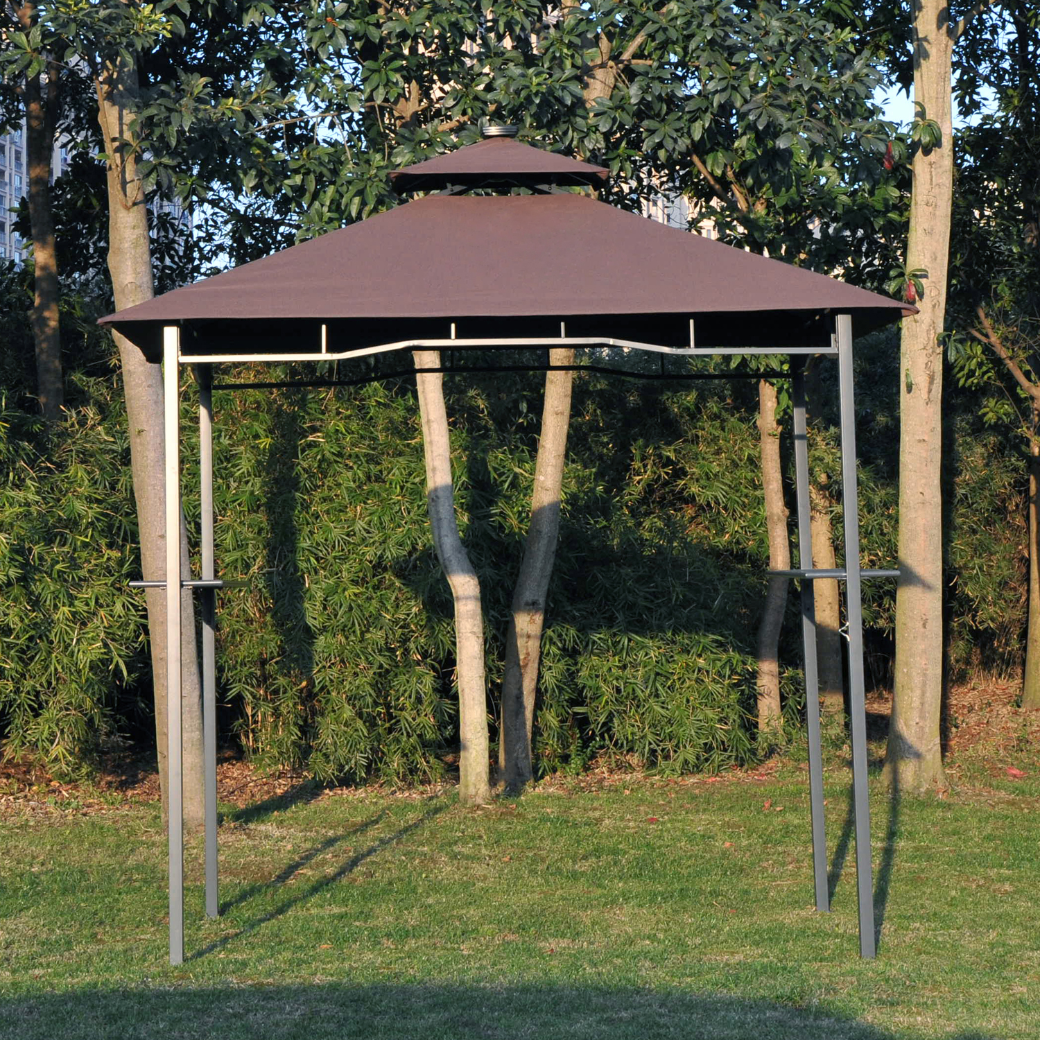 Image of £105.99 Outsunny Gazebo W/LED-Black/Coffee / BBQ 2 Tier Tent 4 LED Strips Outdoor Patio Canopy Party Shelter w/Solar Panel Coffee Lighting Wedding Garden 84C-036 5056029889466