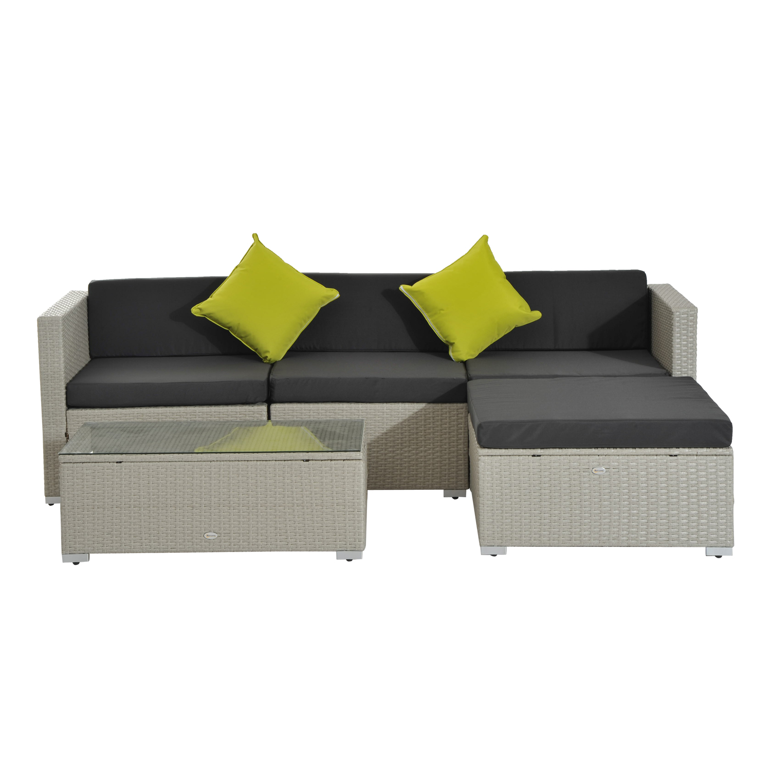Image of £319.99 Outsunny 5pc Wicker Furniture Rattan Sofa Set-Grey / Conservatory Garden Corner Outdoor Patio Set Grey Coffee Table 860-017GY 5056029898888