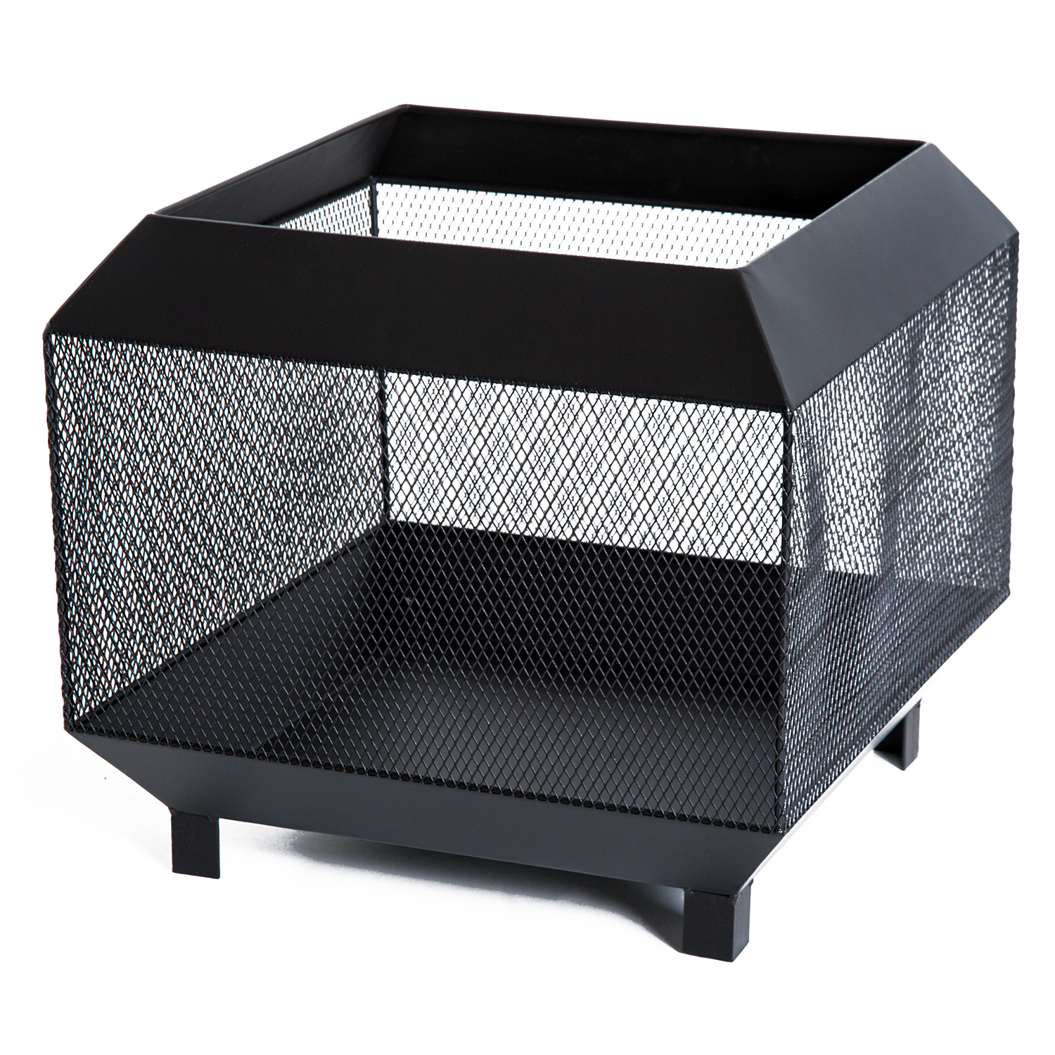 Image of £38.99 Outsunny Fire Pit, Square Shape, Steel-Black / Metal Mesh Firepit Sqaure Heater Stove Backyard Garden Wood Charcoal Burner Outdoor Patio Black Buring Steel 842-090 5056029888063