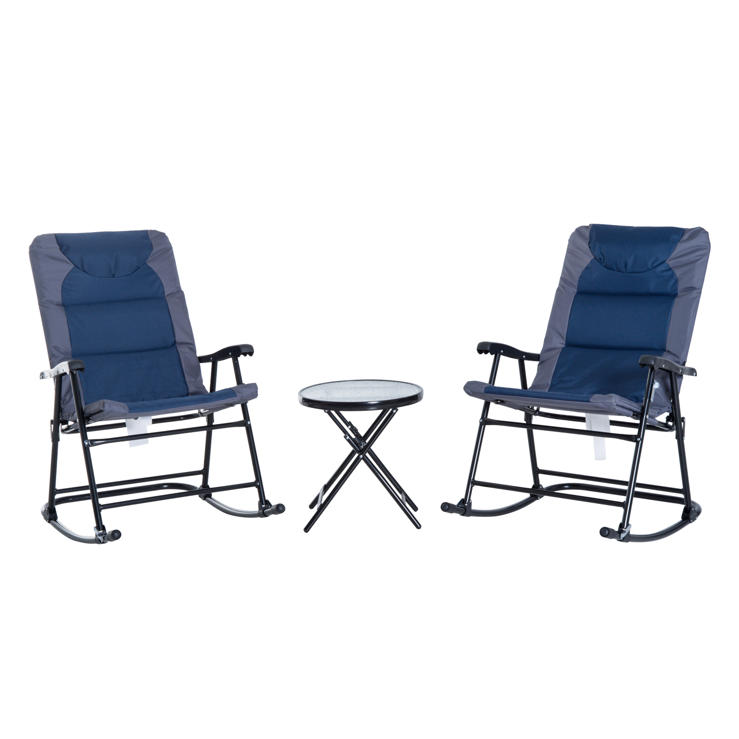 Image of £72.99 Outsunny 3 Pcs Rocker Bistro, Steel-Dark Blue/Grey / PC Bistro Set Metal Rocking Chairs Folding Round Table Portable Armrest Seat Garden Outdoor Furniture Pieces Lounger Fold Glider Backyard 84B-201 5056029888988