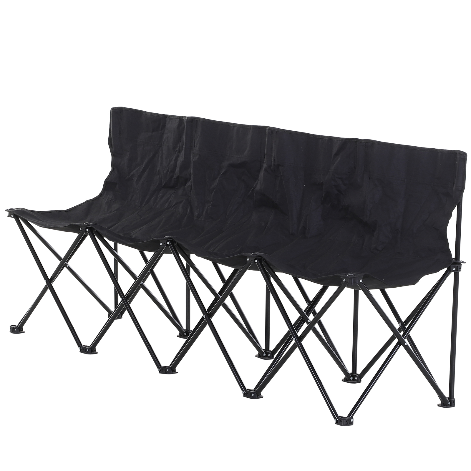 Outsunny 4-Seater Folding Steel Camping Bench w/ Cooler Bag Black