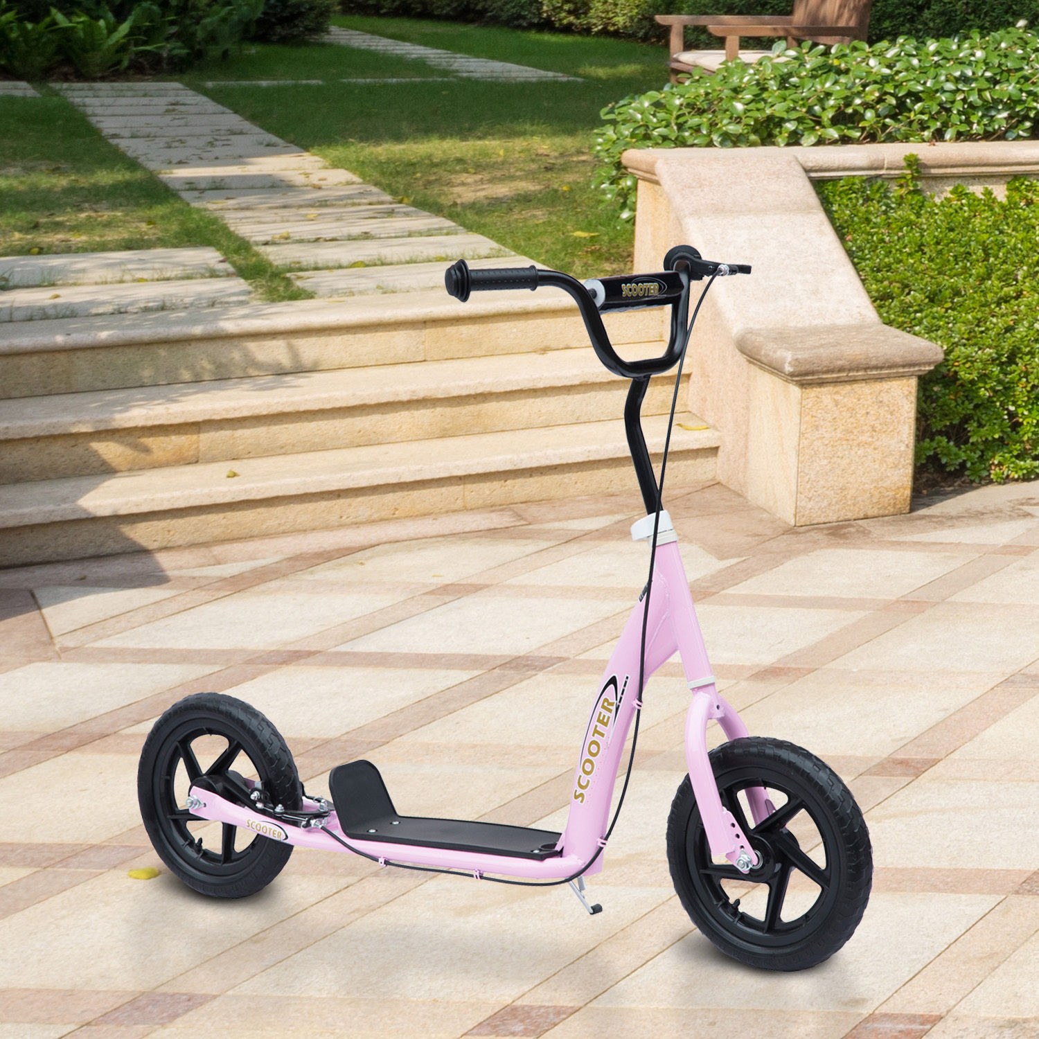 """HOMCOM 12"""" Tyres Teen Push Stunt Bicycle Ride On Scooter-Pink"""