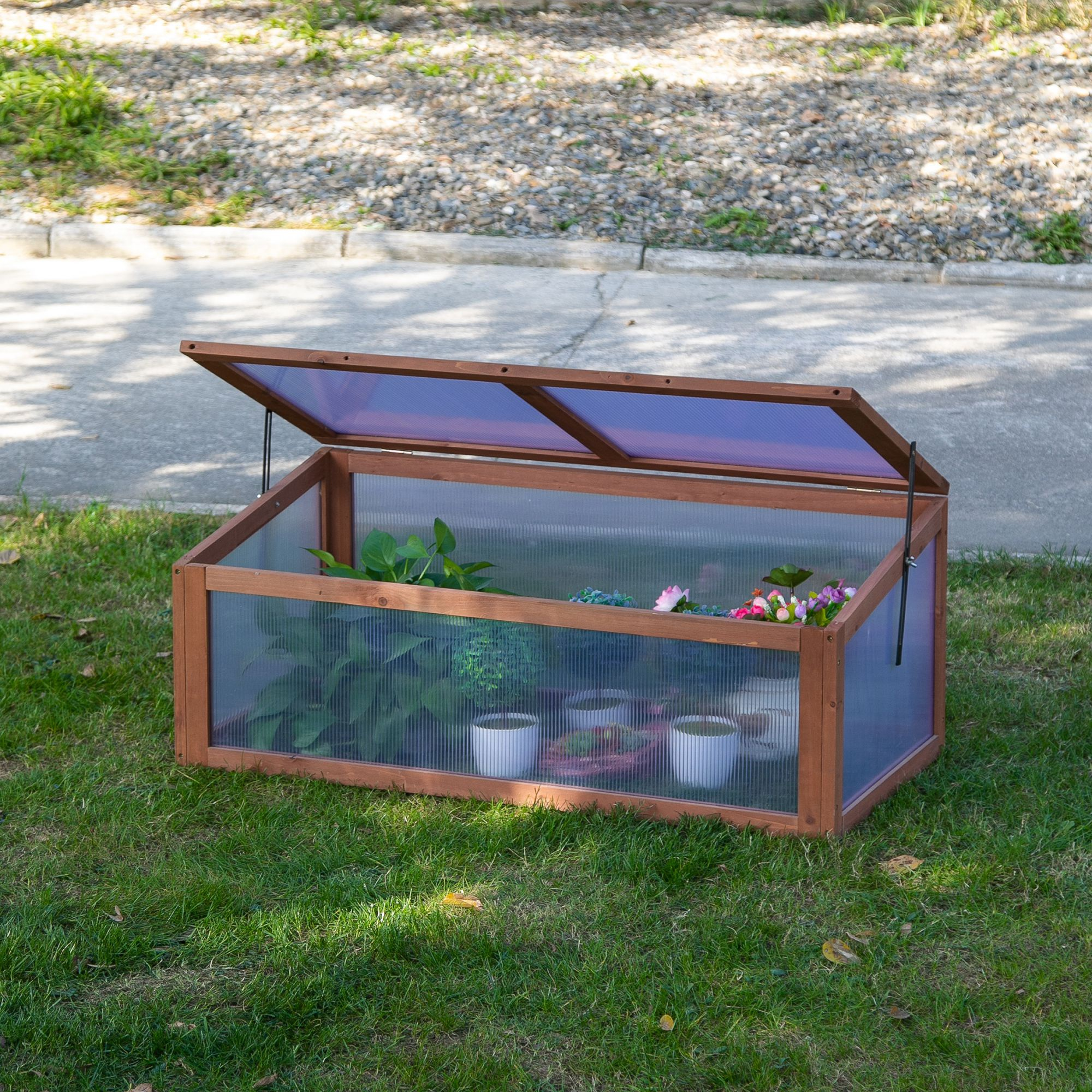 Outsunny Square Wooden Outdoor Greenhouse for Plants with Openable Cover PC Board