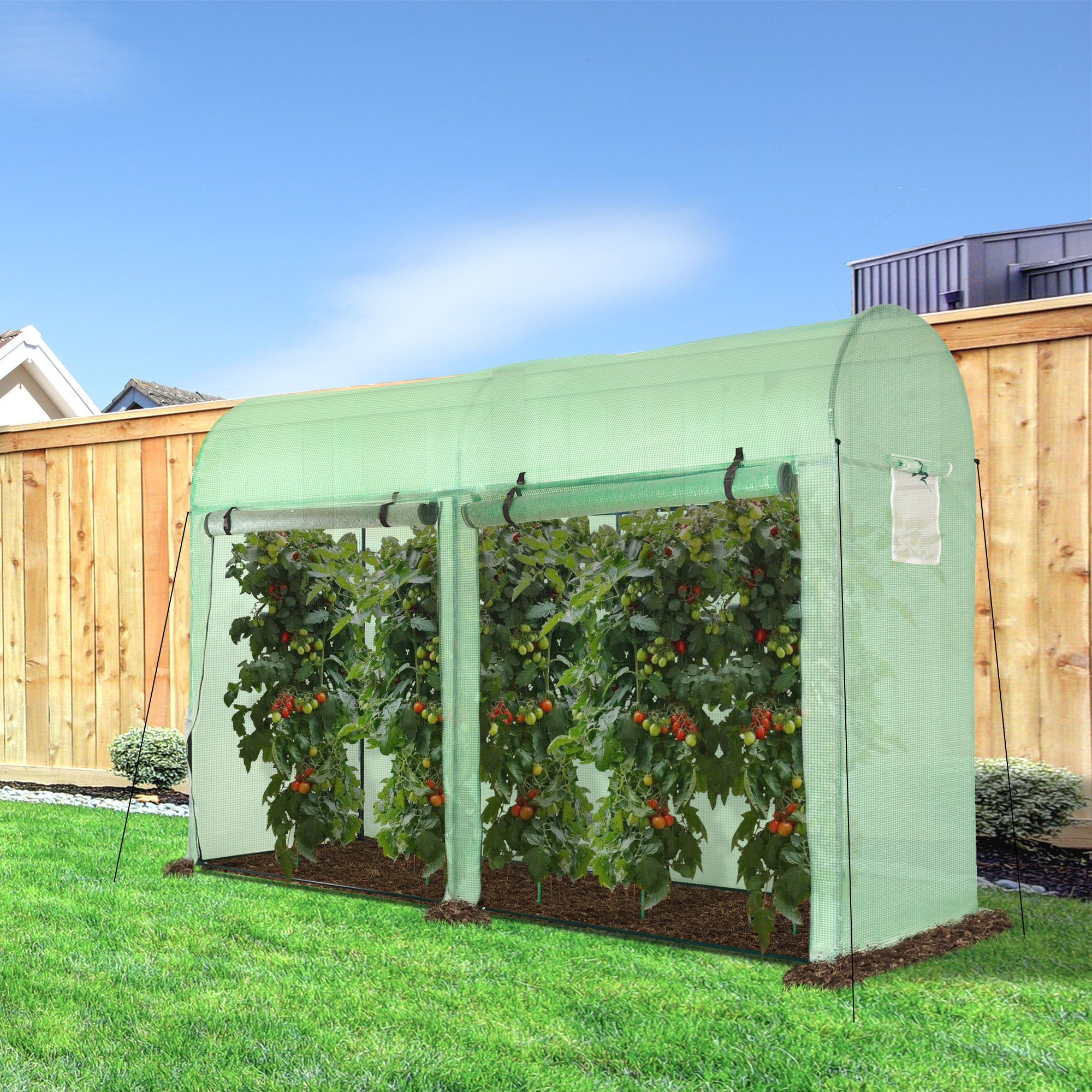 Outsunny Greenhouse with Double Doors and 4 Windows Outdoor Green 3 x 1 x 2m