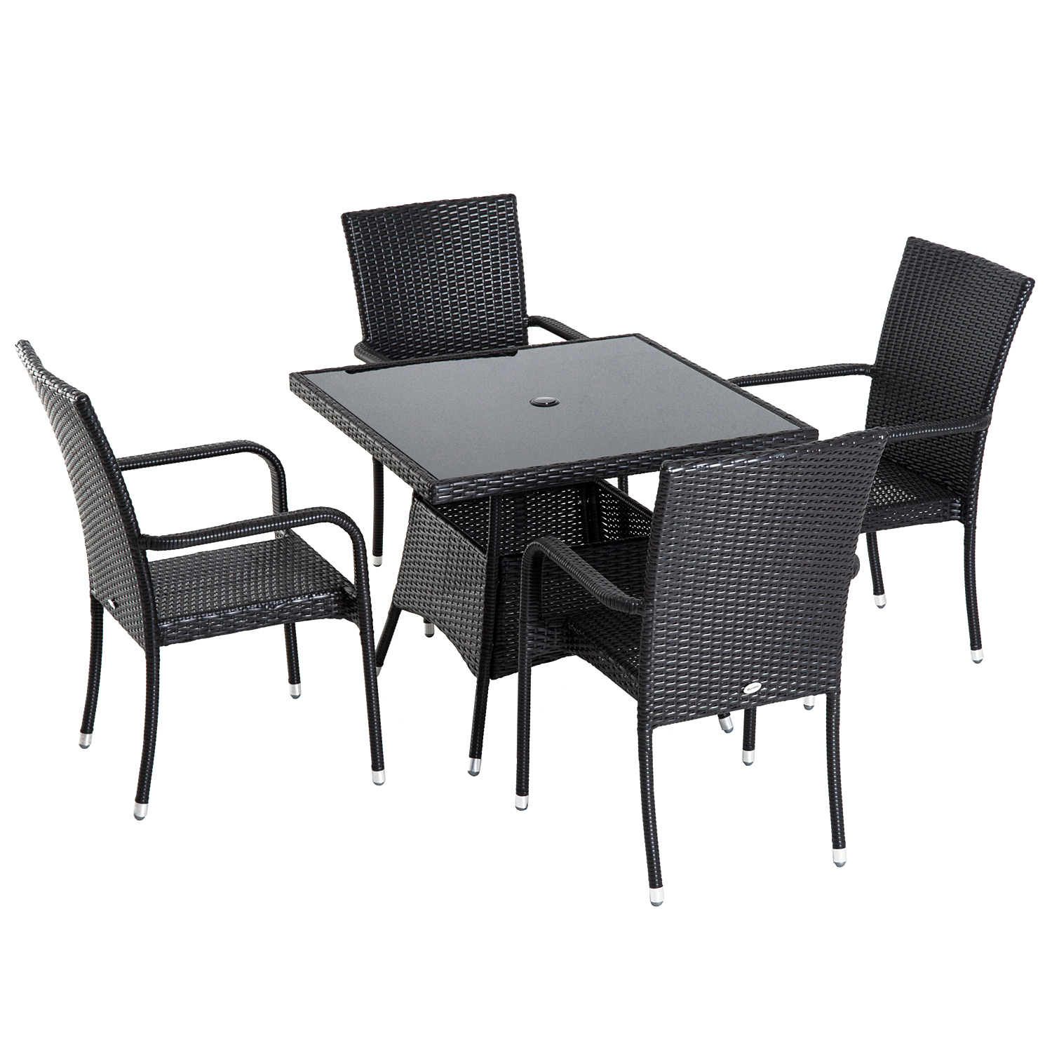 Image of £244.99 Outsunny 5 Pieces Rattan Dining Set, Steel-Brown / 5PC Set Garden Outdoor Wicker Weave Furniture 4 Armrest Chairs + 1 Table Patio Yard Brown Chair Steel 861-017 5056029887554