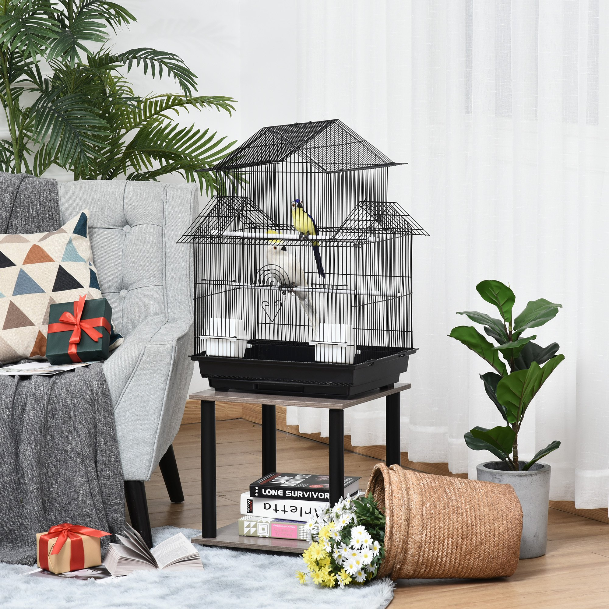 PawHut Metal Bird Cage w/ Plastic Perch Food Container Handle Small 51 x 47 x 67cm Black