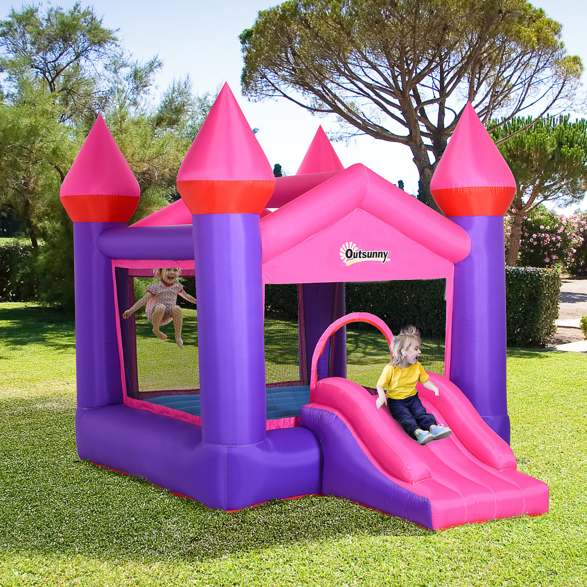 Outsunny Bounce Castle Inflatable Trampoline Slide for Kids w/ inflator 3.5 x 2.5 x 2.7m
