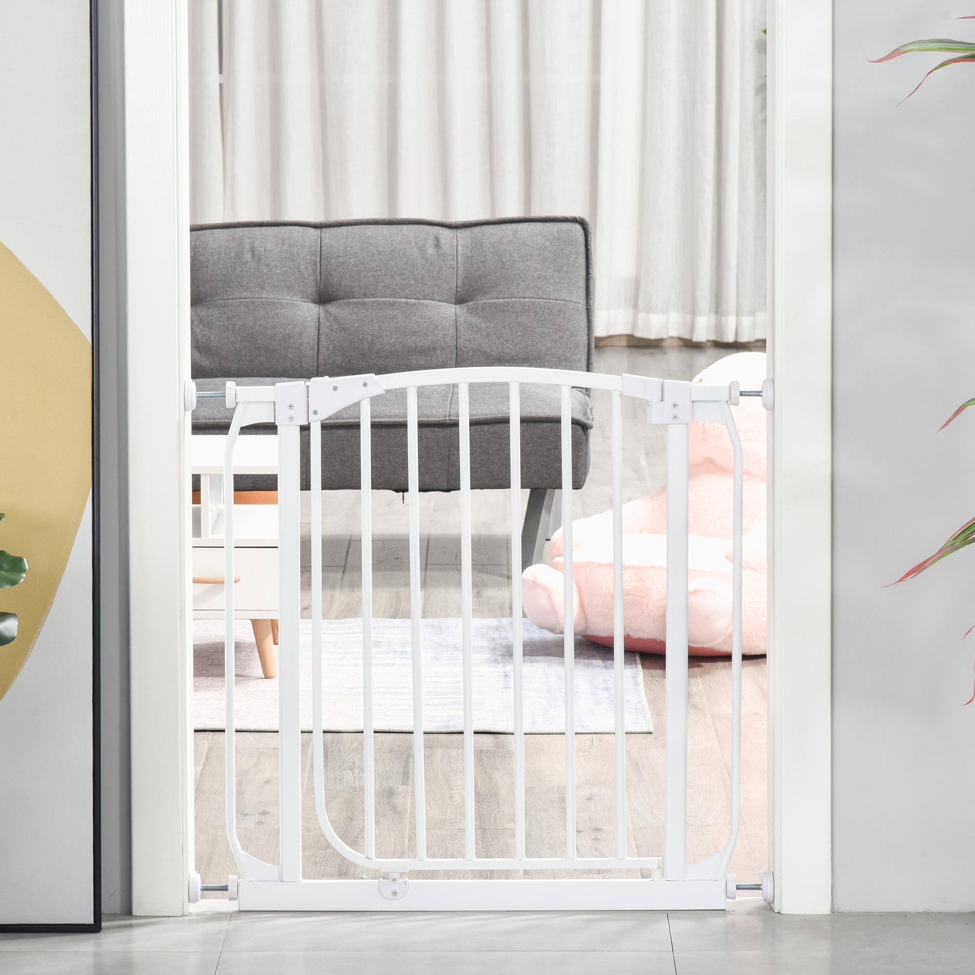 HOMCOM Baby Safety Gate Stair Kid Pressure Fit Divider Home with Adjusting Screws White