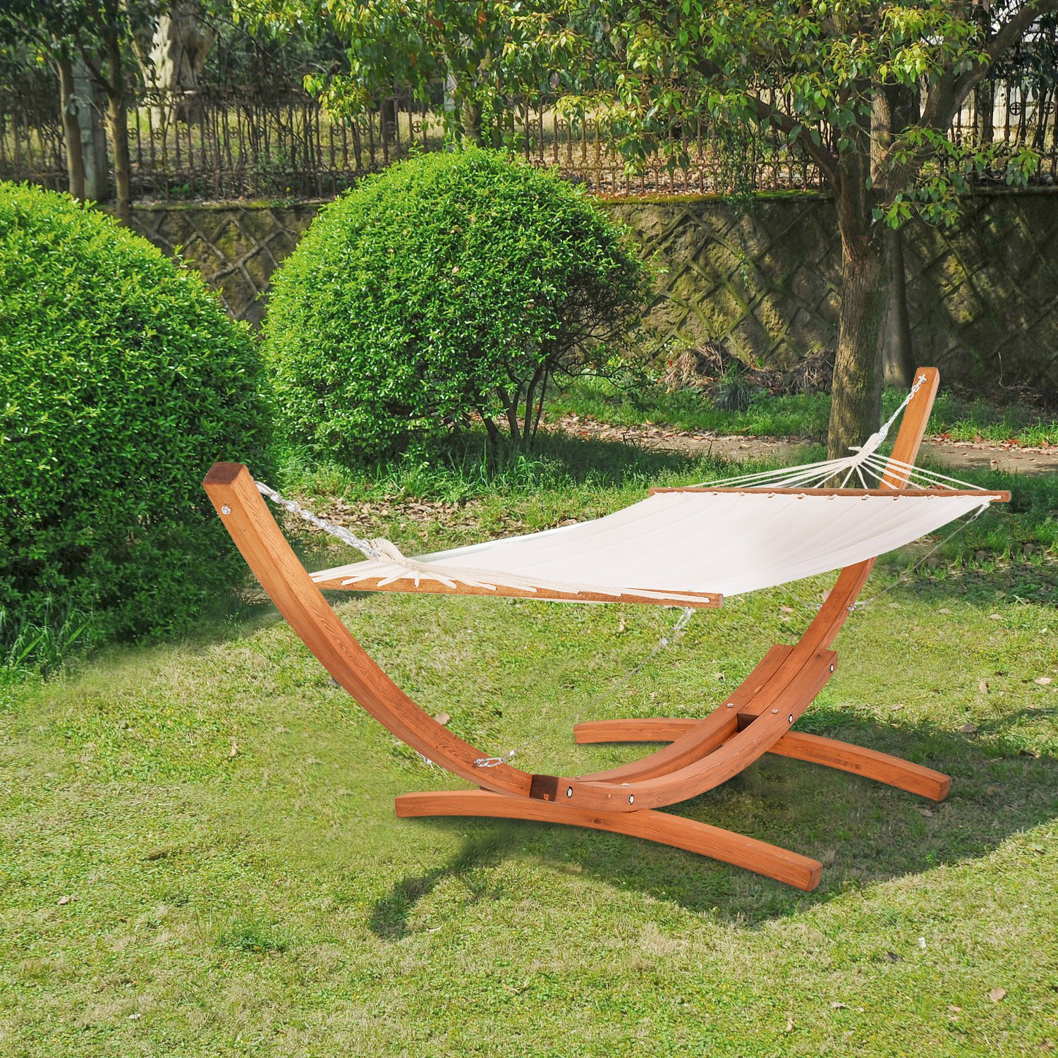Outsunny Wooden Double Hammock Bed-White