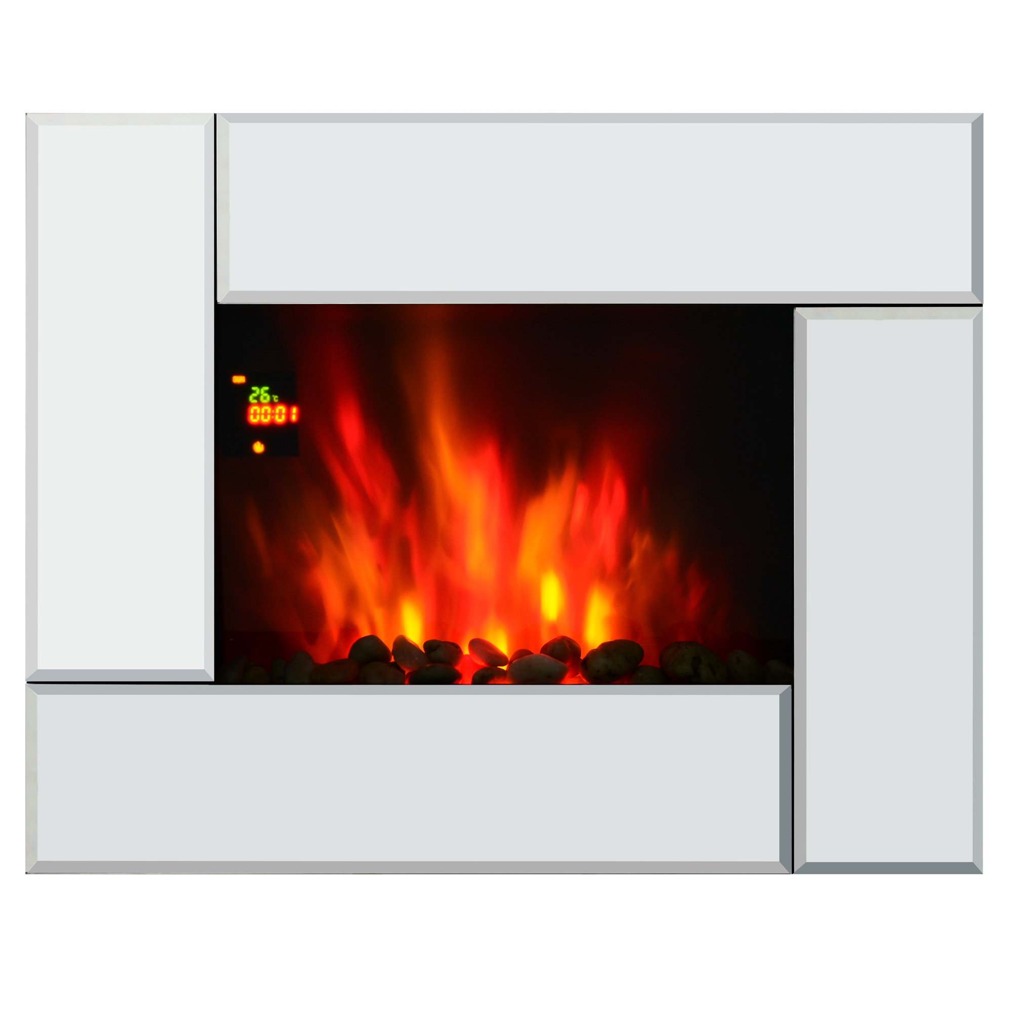 Image of £96.99 HOMCOM Electric Fireplace Heater, Flame Effect / 1800W Wall Mounted Heater 7 Coloured LED Light Fire Glass Screen with Pebble & Remote Control Mount Day 820-078 5056029801352