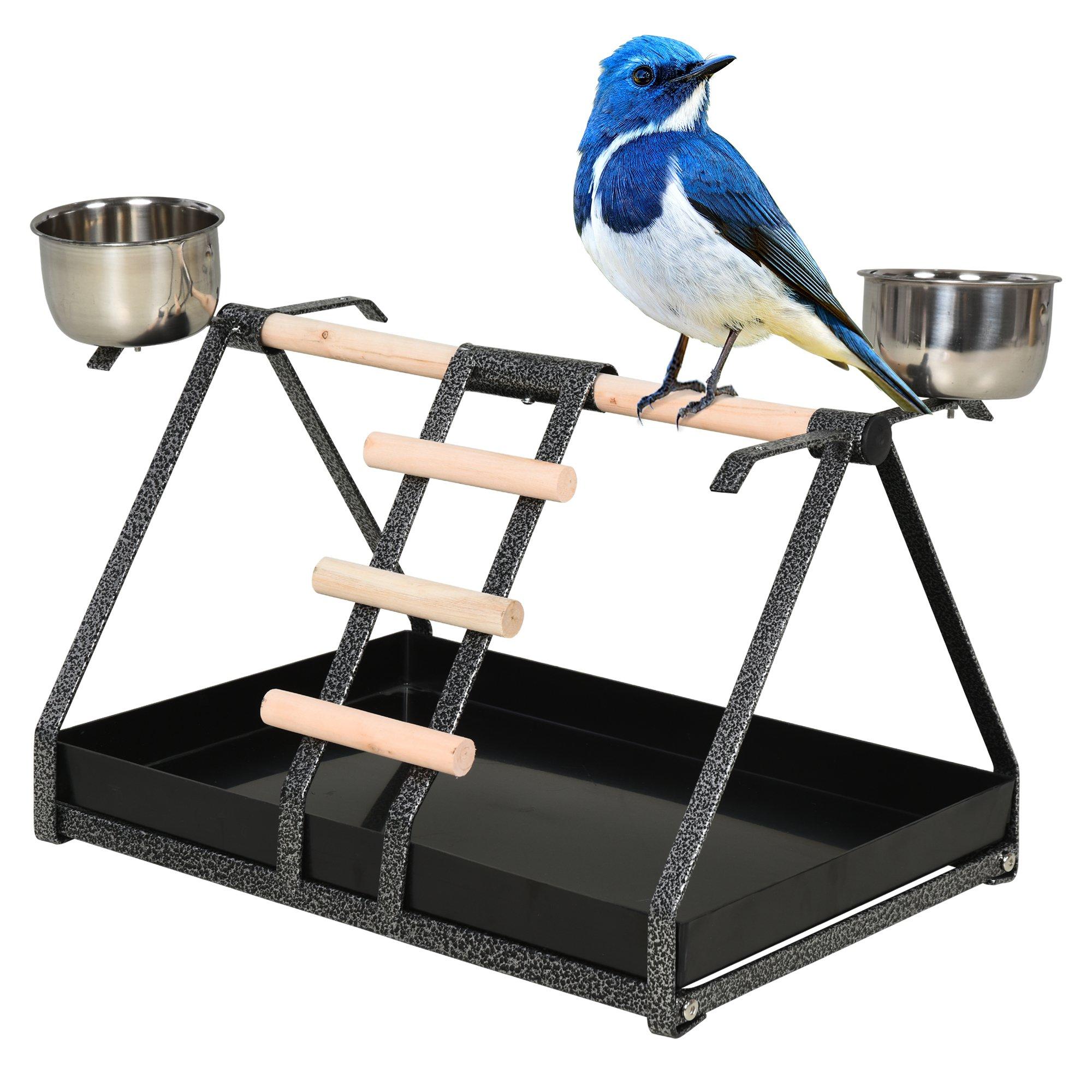 PawHut Birds Stainless Steel Feeder w/ Fir Wood Perch