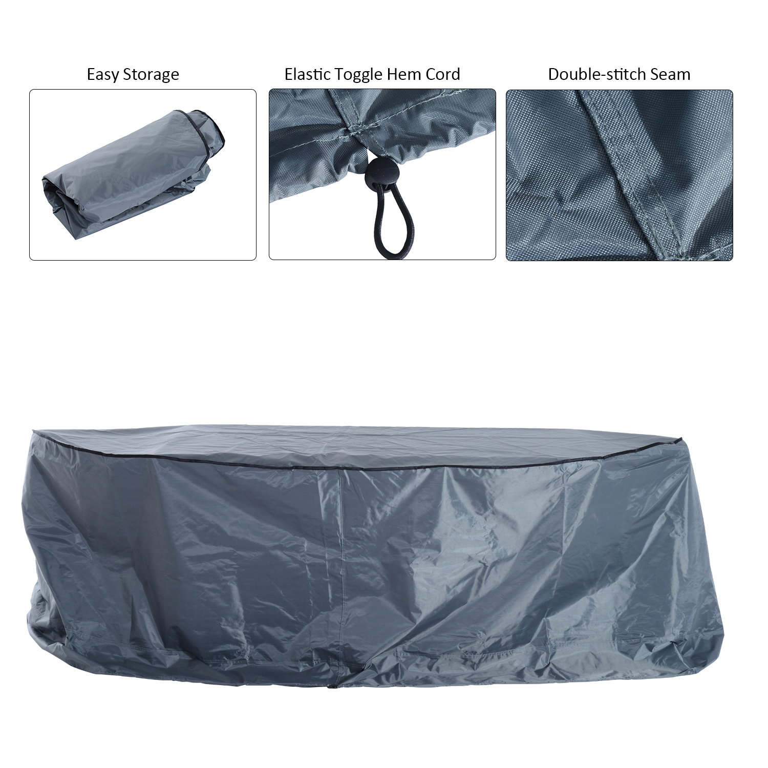 Image of £24.99 Outsunny Furniture Cover, Waterproof-Grey / Outdoor Garden 2-3 Seater Sofa Cover Waterproof Set Water Resistant All-weather Shelter Protection Oxford 84B-065 5056029892671