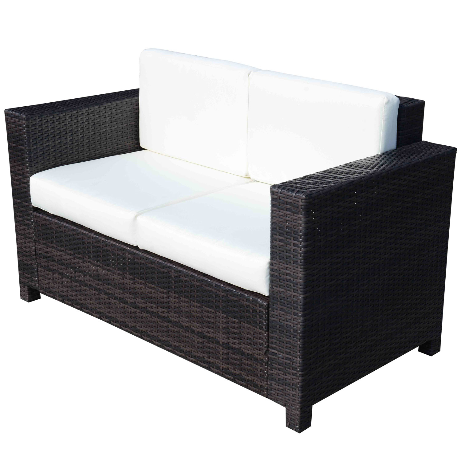 Image of £164.99 Outsunny Rattan Sofa, 2-Seater-Brown / Outdoor Garden Patio Wicker Weave Furniture Table Sofa Chair Mixed Brown 860-031BN 5056029885123