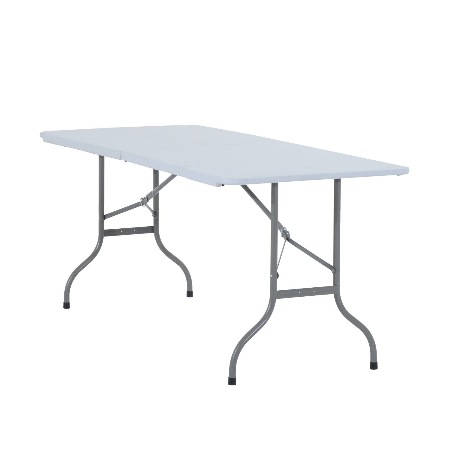Image of £35.99 HOMCOM Folding Table 1.8m Heavy Duty Adjustable Market Stall Portable Dinning Outdoor / Outsunny 1.8 m Garden Camping Party Dining Foldable - White/Grey Steel White Picnic BBQ 84B-008 5055974823365