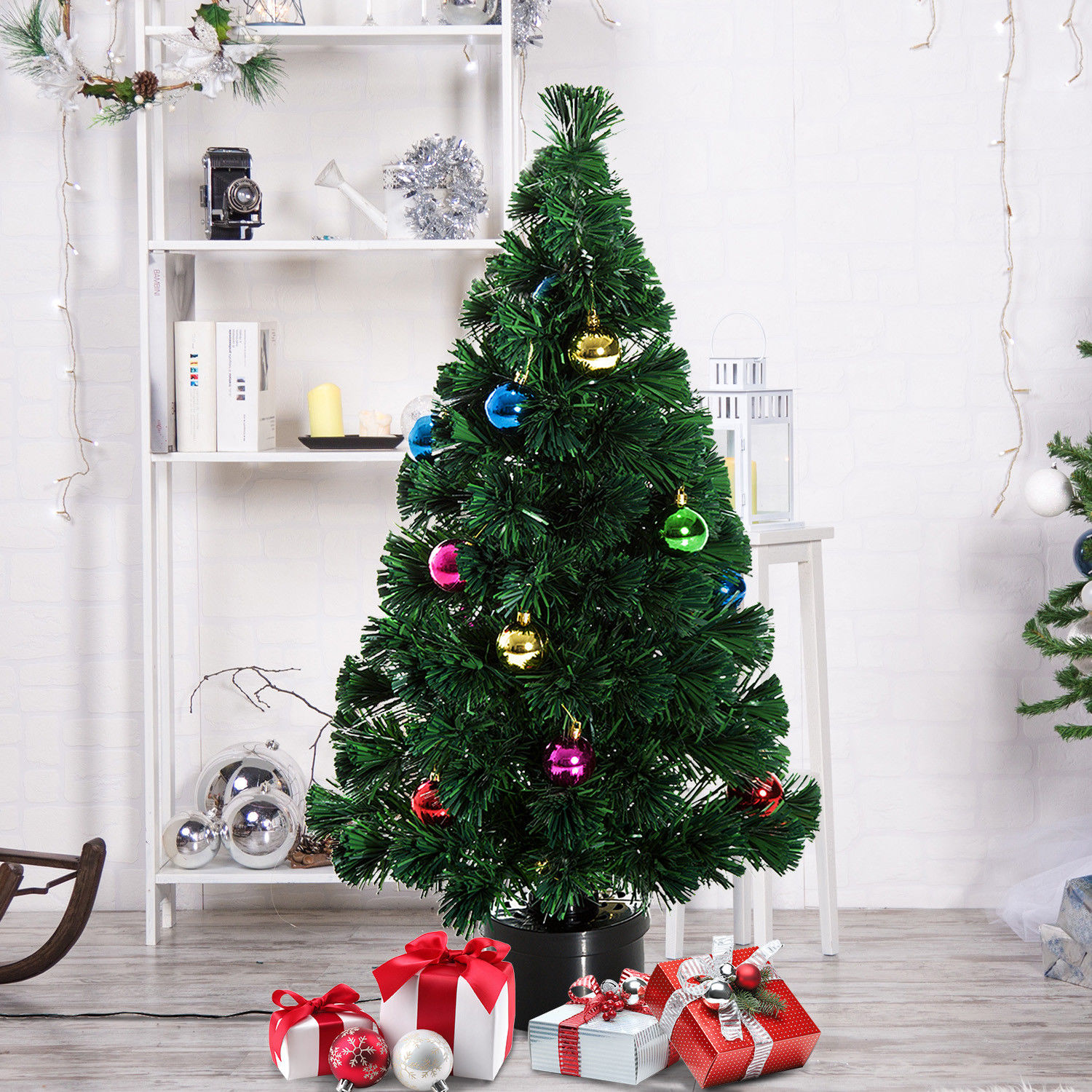 Image of £19.99 HOMCOM 3 ft Artificial Christmas W/Rotating Stand-Green / 3FT 90cm Fibre Optic Tree Green Pine Holiday Decorations PVC Rotating Stand w/ 20 Ornament Balls & 115 Branch Tips 4ft 5ft 6ft 7ft Xmas LED Snowflake from 7.99 830-074 5055974833968