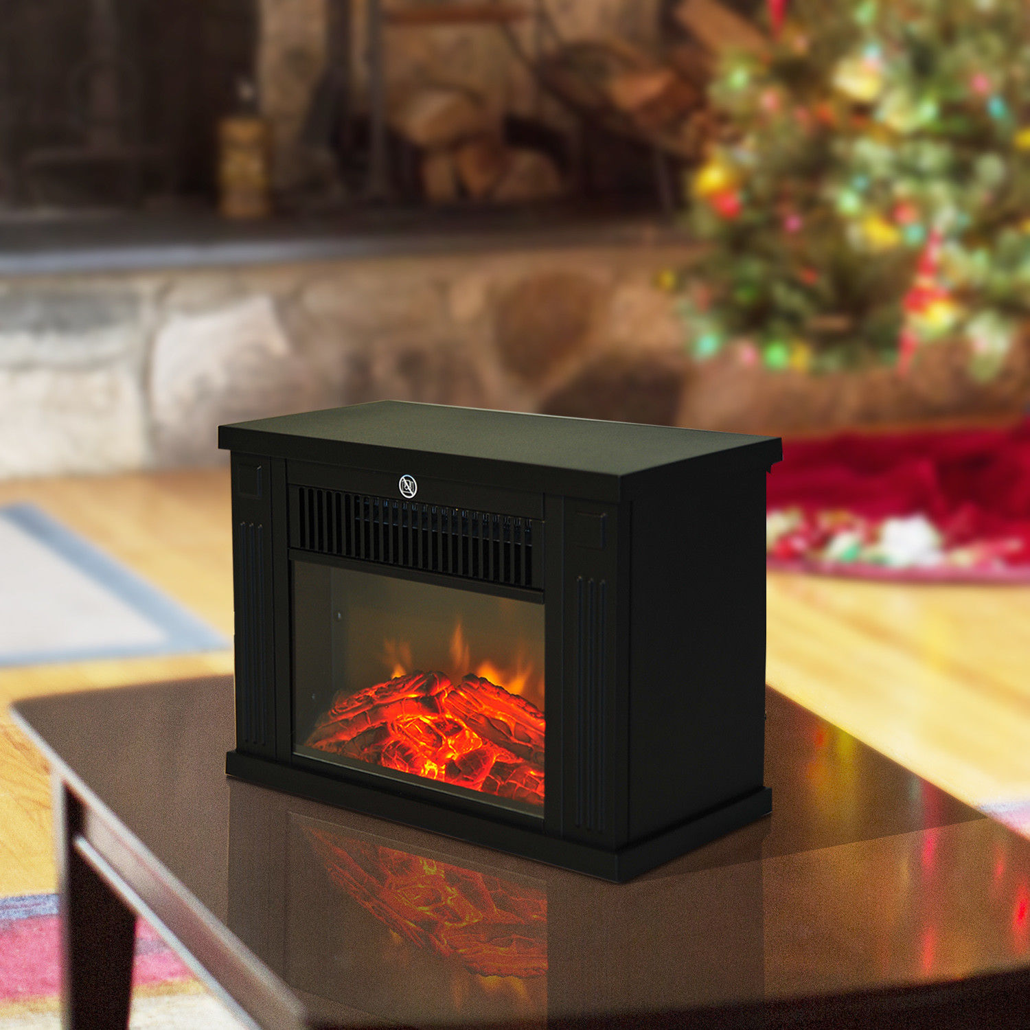 Image of £39.99 HOMCOM Fire Wood LED Flame Electric Fireplace-Black / 1.2KW Freestanding Fireplace Log Burning Effect Vintage Heater Stove Living Room Tempered Glass View 820-049 5055974832008