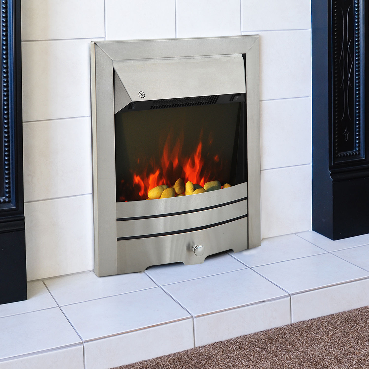 Image of £92.99 HOMCOM LED Flame Electric Fire Place-Stainless Steel / 2KW Stainless Fireplace Pebble Burning Effect Heater Indoor Stove Lighting 2000W 820-046 5055974831971