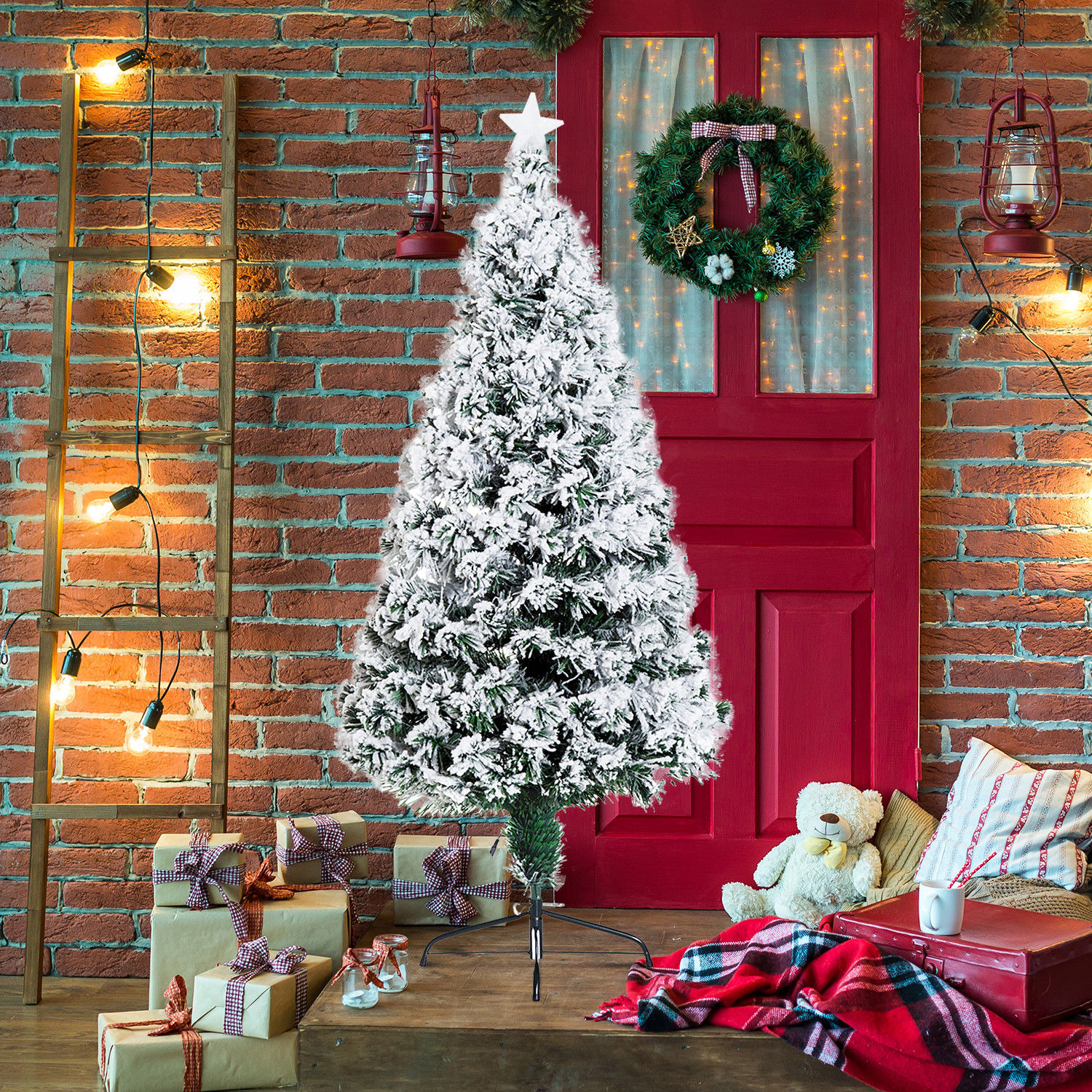 Image of £42.99 HOMCOM 5 Ft Artificial Christmas W/LED Lights / Fibre Optic Tree Green Pine With Snow Scattered Xmas Pre-lit Colorful Holiday Decorations Metal Stand (5ft 180 tips) 3ft 4ft 5ft 6ft 7ft LED Snowflake from 7.99 830-065 5055974833937