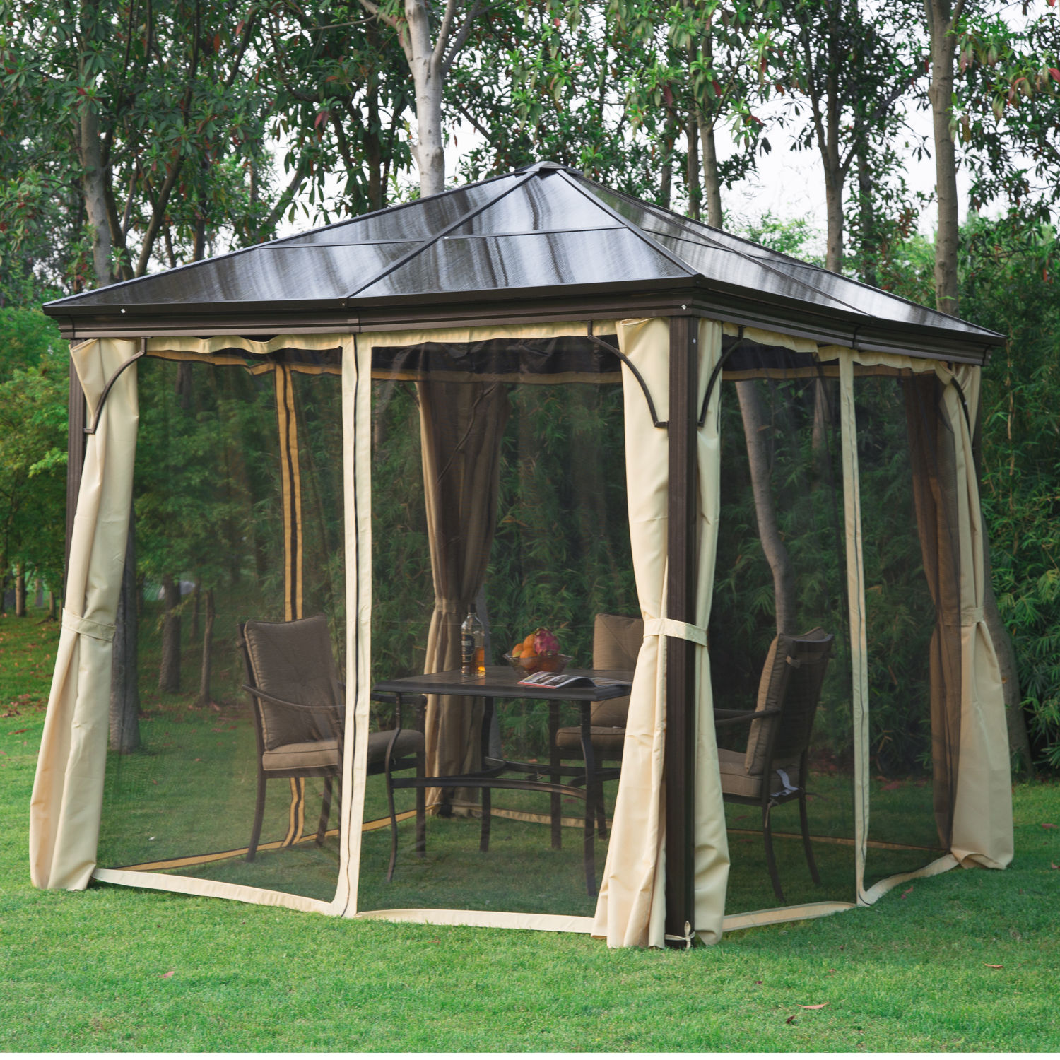 Image of £499.99 Outsunny 3x3 m Gazebo W/Mosquito Net-Brown/Black/Beige / 3 x 3m Patio Aluminium Canopy Marquee Party Tent Hardtop Roof Garden Shelter w/ Mesh & Side Walls Wall Maequee 01-0871 5056029892145