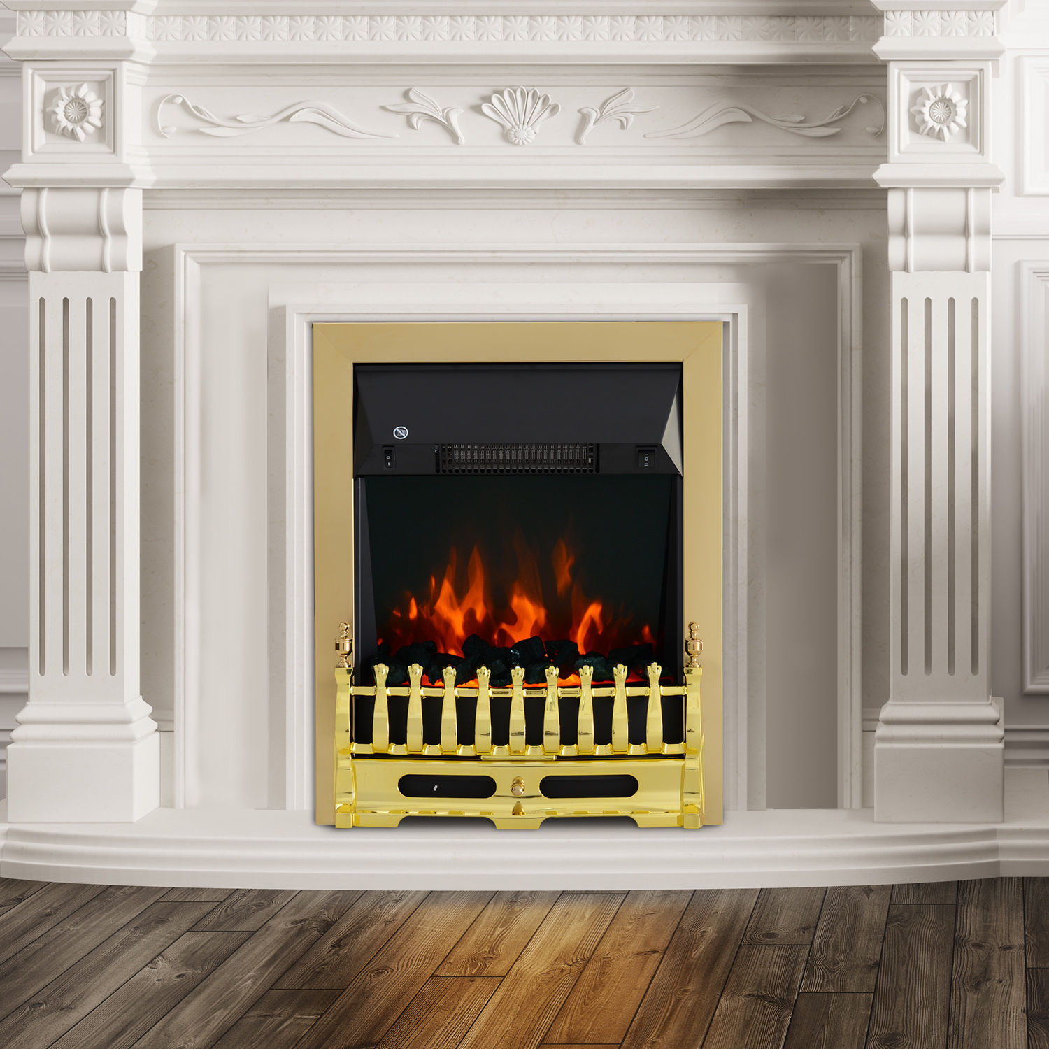 Image of £84.99 HOMCOM LED Flame Electric Fire Place-Golden / Fireplace Light Complete Place Heating Indoor Heater Coal Burning Effect Heat 2000W Max Modern 1 & 2KW Surround Pebble 820-042 5055974831995