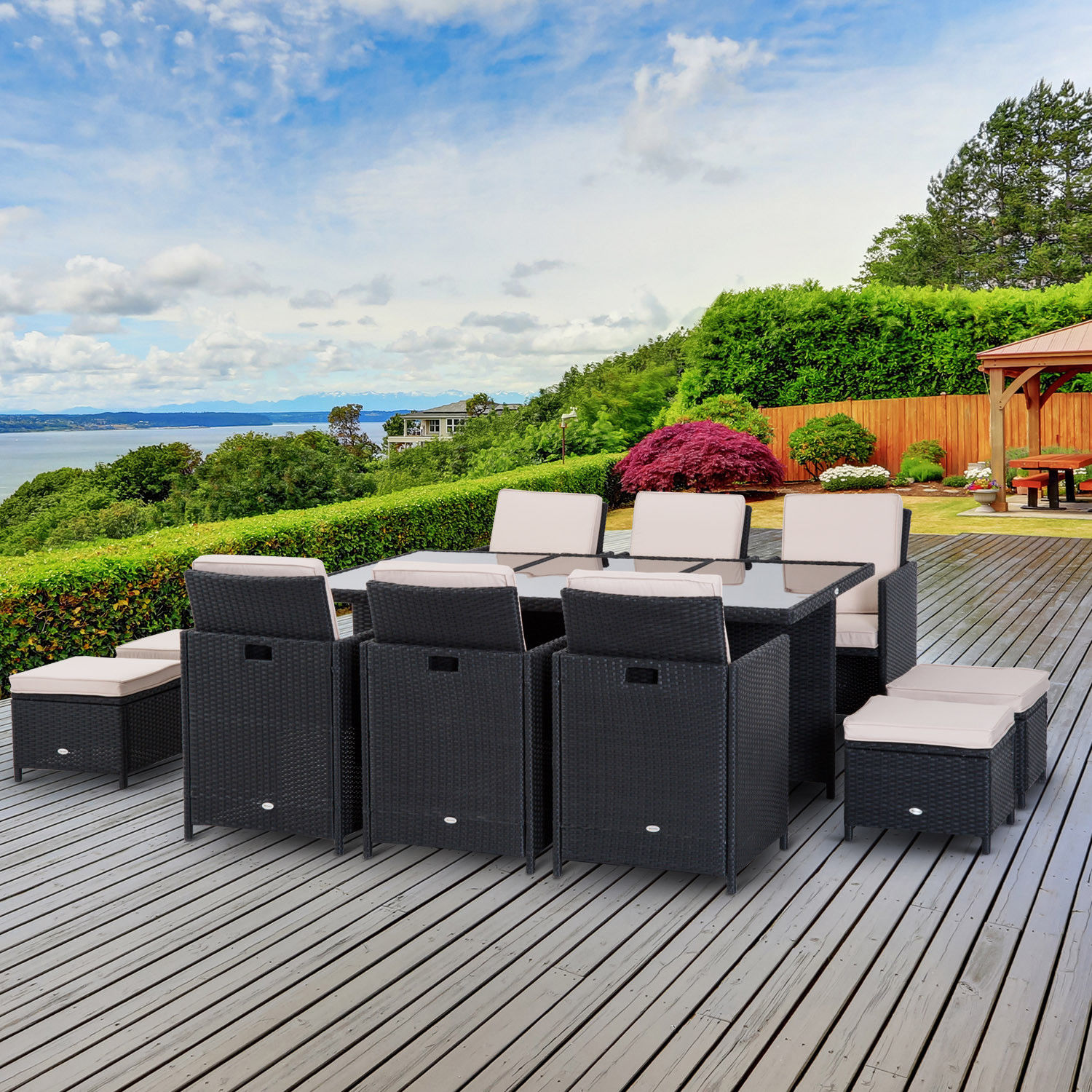 Image of £569.99 Outsunny Rattan Furniture Set, Aluminium, 11 Pieces-Black / 11pc Garden Outdoor Patio Dining Set Cube Sofa Weave Wicker 6 Chairs 4 Footrests & 1 Table Black Pieces Cushion Footrest Brown 861-031BK 5056029887585