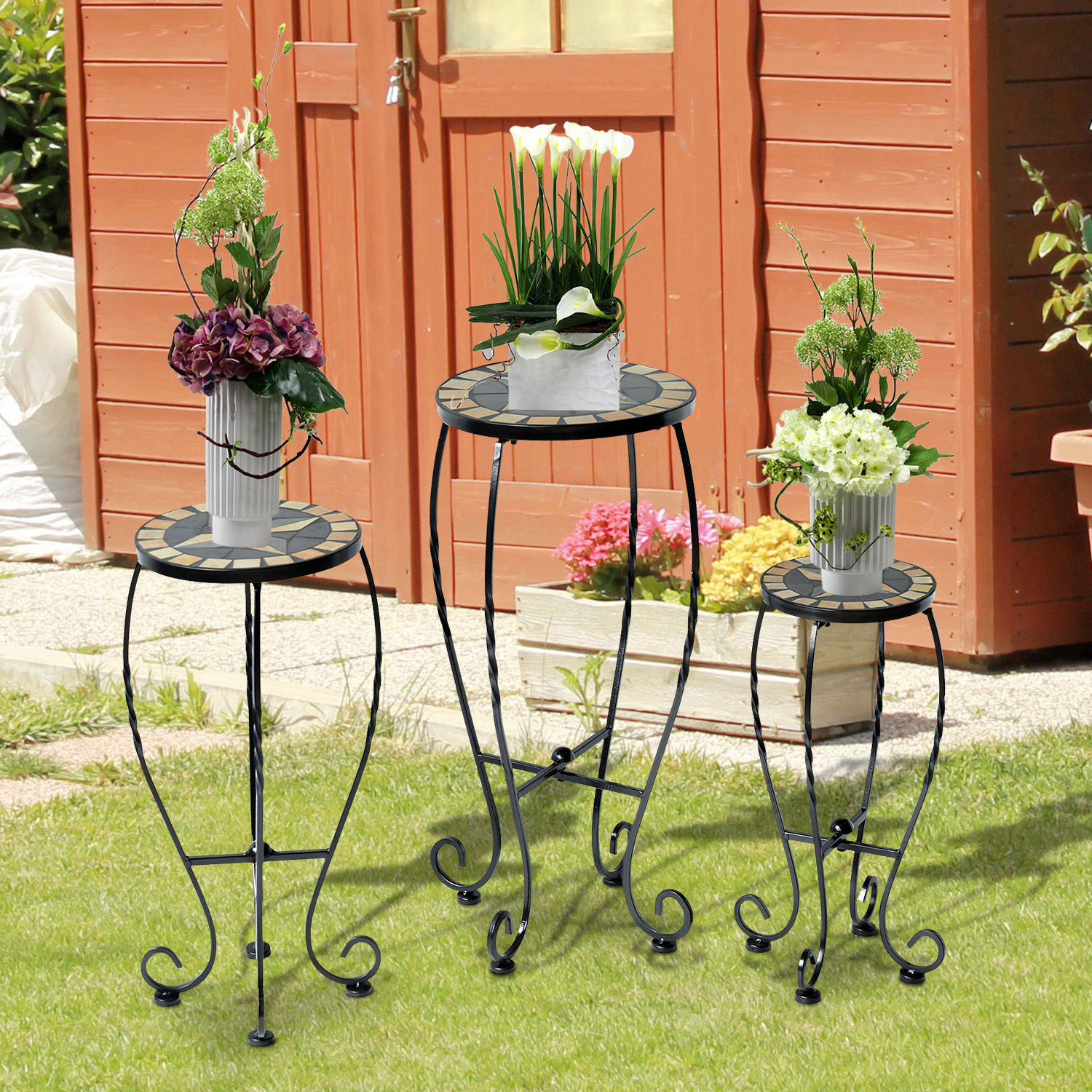 Image of £35.99 Outsunny 3 Pcs Plant Stand Table Set W/Mosaic Pattern-Black Iron / of Outdoor Round Bistro Flower Mosaic Garden Display Rack Stool Stands Home Décor 845-033 5055974841840