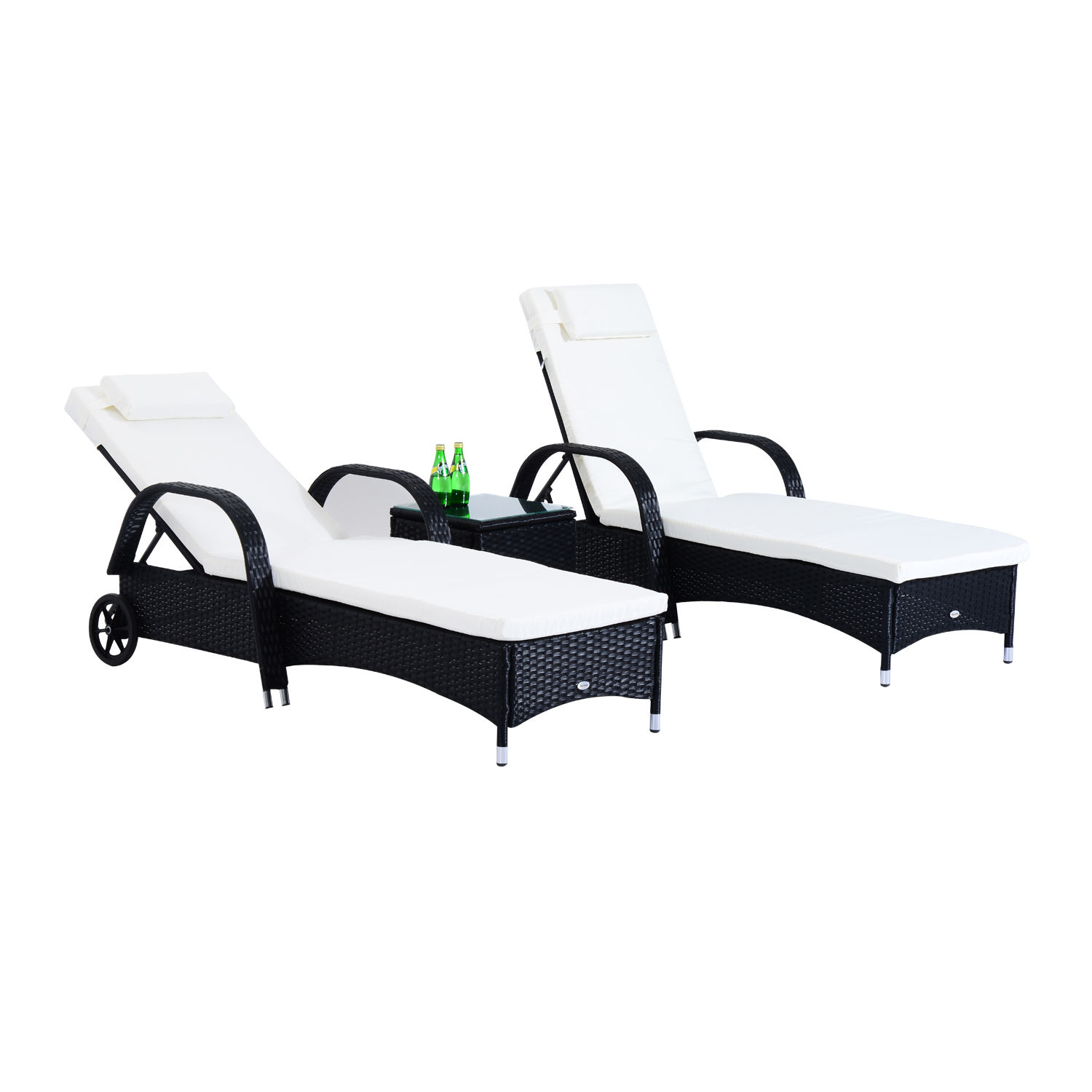 Image of £229.99 Outsunny 3 Pcs Rattan Loungers Set-Black / Garden Furniture PC Sun Lounger Recliner Bed Chair Set with Side Table Patio Outdoor Wicker (Black) 3PC Sofa Day Black 841-091BK 5055974822061