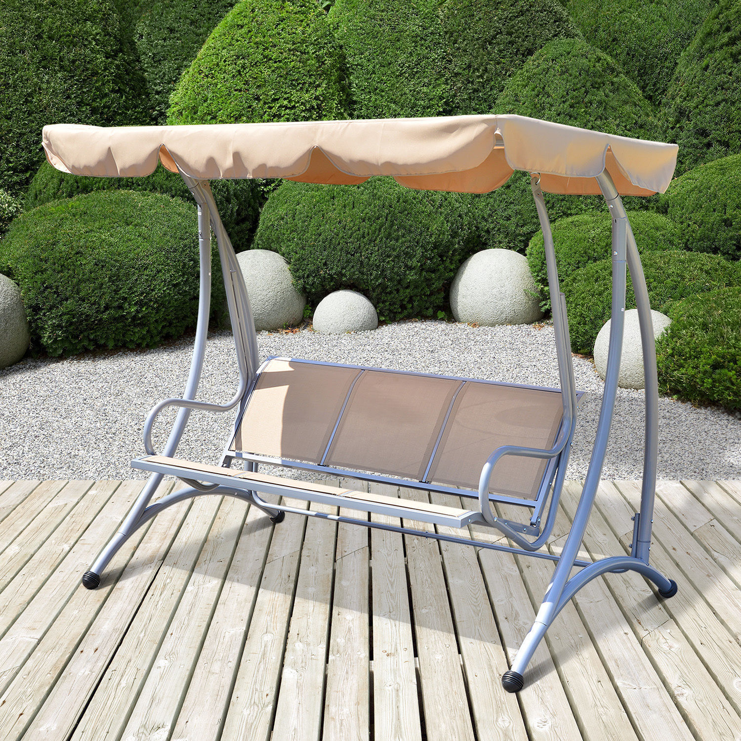 Image of £124.99 Outsunny 3-Seater Swing Chair, Polyester-Beige / 3 Seater Canopy Chair Hammock Garden Outdoor Patio Metal Rocking Seat Swat Bench Beige 01-0885 5056029893463