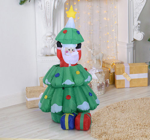 Image of £38.99 HOMCOM Large Christmas Inflatable Tree W/ Santa Claus / Decoration Hidden into Xmas 3 LED Air Blown Indoor Outdoor Decor Present Lights 844-052 5055974834088
